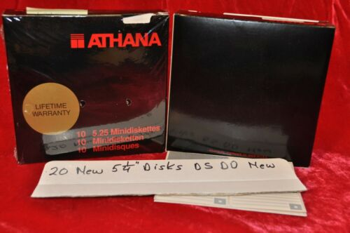 "20 Athana 5.25"" Floppy Discs Disks Double Sided Double Density Lifetime Warranty"