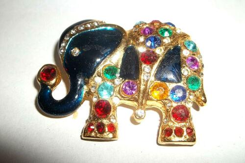 MULTI COLOR & BLACK ENAMEL ELEPHANT PIN,gold plated,RHINESTONES