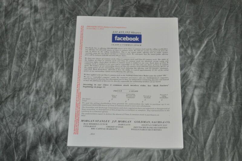 Facebook IPO Stock Prospectus May 3, 2012 Very Rare (Mint)