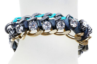 JUICY COUTURE WAR OF LOVE RIBBON & CHAIN BRACELET blue  NWT