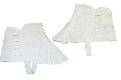 ROARING 20'S WHITE CANVAS COSTUME SPATS GANGSTER W/ SNAP VICTORIAN OLD WEST - White Spats