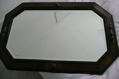ANTIQUE dark wood OCTAGONAL MIRROR C.1910/1920