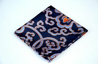 Lord R Colton Masterworks Pocket Square - Navy Rust Madness Silk - $75 New