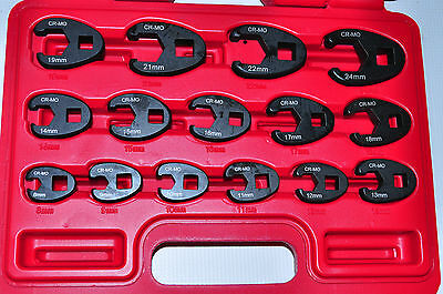 "CROW FOOT FLARE NUT WRENCH 15 Piece 3/8"" Drive Metric 8 mm to 24 mm"