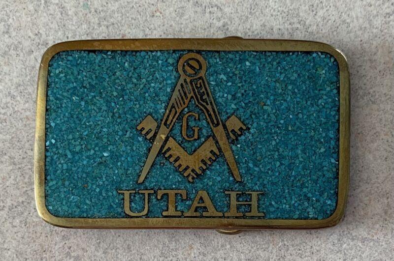 Vintage Utah Freemason Masonic Brass Turquoise Chip Inlay Belt Buckle LDS? RARE