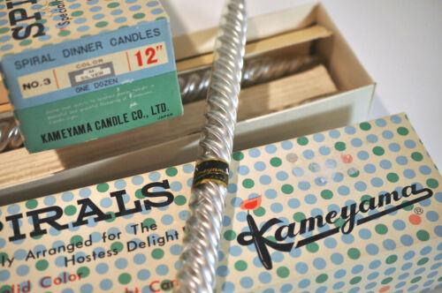 """Vintage Kameyama Silver Spirals candles NOS solid color soft light 12"""" Japan"""