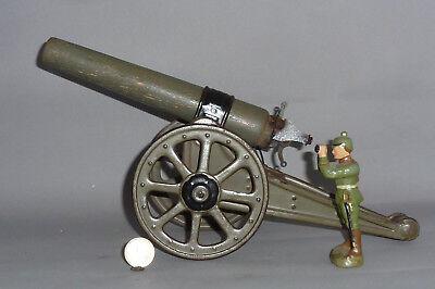 Uralte große FB Kanone aus Blech mit Holz Rohr 34cm lang - Tinplate Cannon