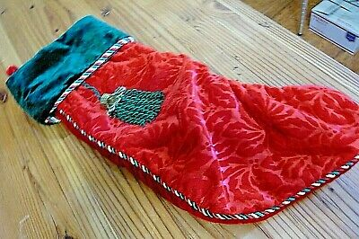 CHRISTMAS STOCKING-VELVET-DECORATIVE TRIM-Tassel/Hanging Loop-About 9 x 21