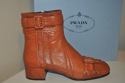 NIB $1,150+ PRADA Buckle Ankle Side Zip Boots Ankle Bootie Brown Leather 38 - 8