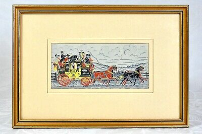 Jacquard Woven Calagraph Mail Coach Bath to London Stevengraph Style Ex Cond