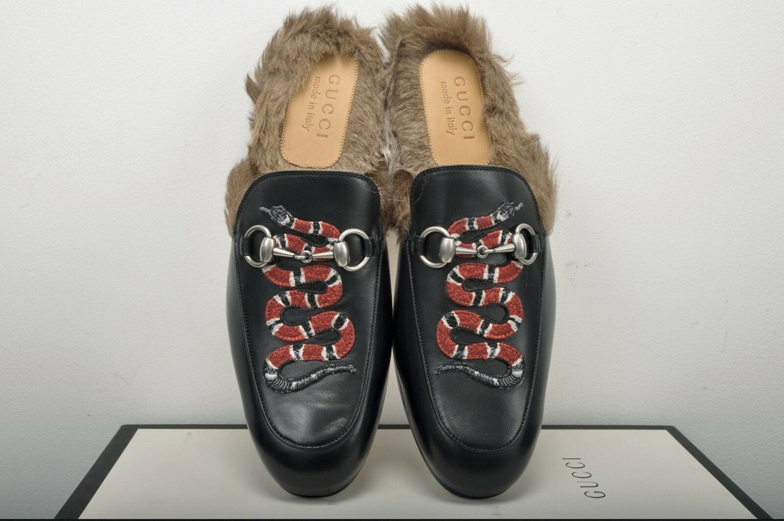 7510da2f758 GUCCI 995  Authentic New Black Fur Lined Leather Princetown Snake ...