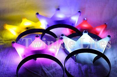 12 PACK Light-Up Princess Crown Headbands LED Blinking Flashing Frozen Supplies (Frozen Supplies)