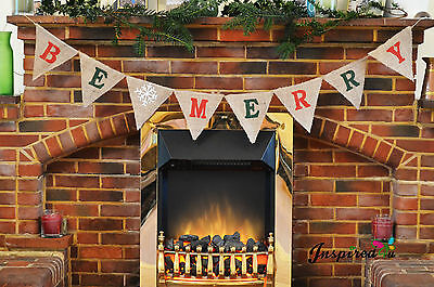 HESSIAN BURLAP FABRIC BUNTING VINTAGE CHRISTMAS PHOTO PROP SHABBY CHIC BE MERRY