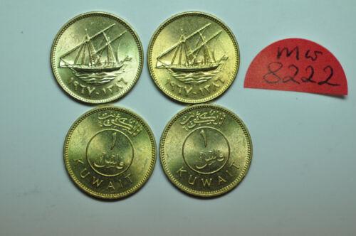 mw82221 Kuwait; Lot of 4 Coins: Fils AH1386 - 1967 Sabah Ibn Salim  KM#9  UNC.