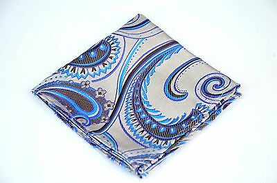 Lord R Colton Masterworks Pocket Square - Silver & Blue Supremacy - Silk $75 New