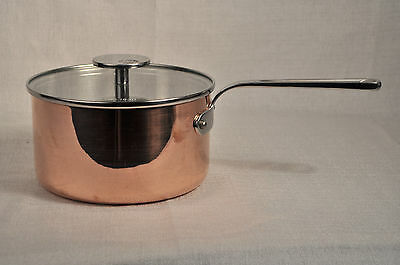 "MAUVIEL Copper Saucepan Casserole with Glass Lid 7"" France New"