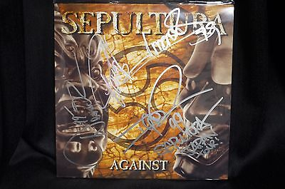 SEPULTURA AGAINST SIGNED LP BY ALL 4 MEMBERS. DERRICK GREEN IGOR CAVALERA