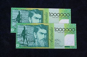 2 x ONE MILLION DOLLAR BILLS .. $1,000,000 .. NED KELLY ..