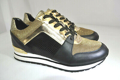 NEW Michael Kors Billie Trainer Metallic Mesh Sneakers Black & Gold Women 9.5 M
