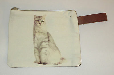Gray White Cat Makeup Bag Leather Strap New Zippered 4