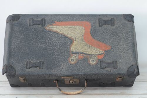 Antique/Vintage Black Leather Suitcase Luggage Roller Derby Case Roller Skates B