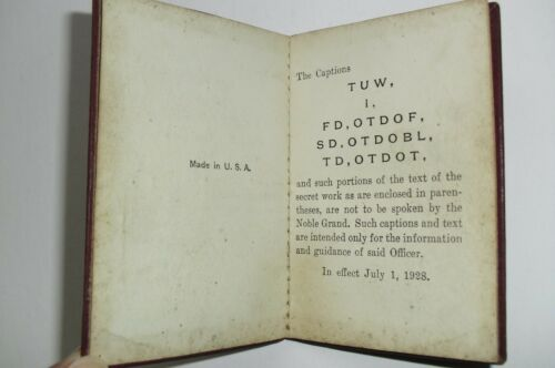 1928 ODD FELLOWS mini book 7 pages in code of secret works, The Captions