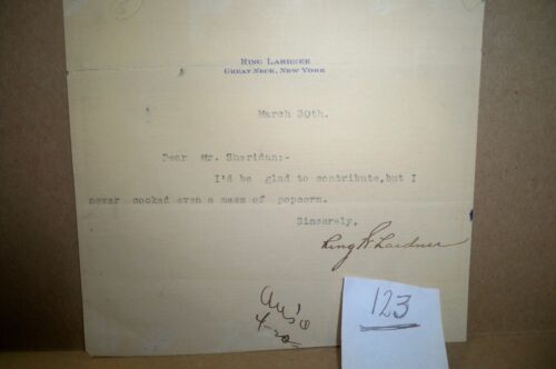 Ring Lardner (1895-1933) Signed Autograph Typed Note RARE