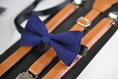 Kid Boys Navy Blue Bow tie + Brown TAN Leather Suspenders Braces 1-8 Years Old Old Navy Bow Tie