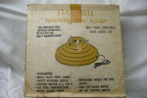 """Vtg Christmas """"STAR Bell Revolving tree Stand """"Handy Things"""" Music Gold Sliver G"""