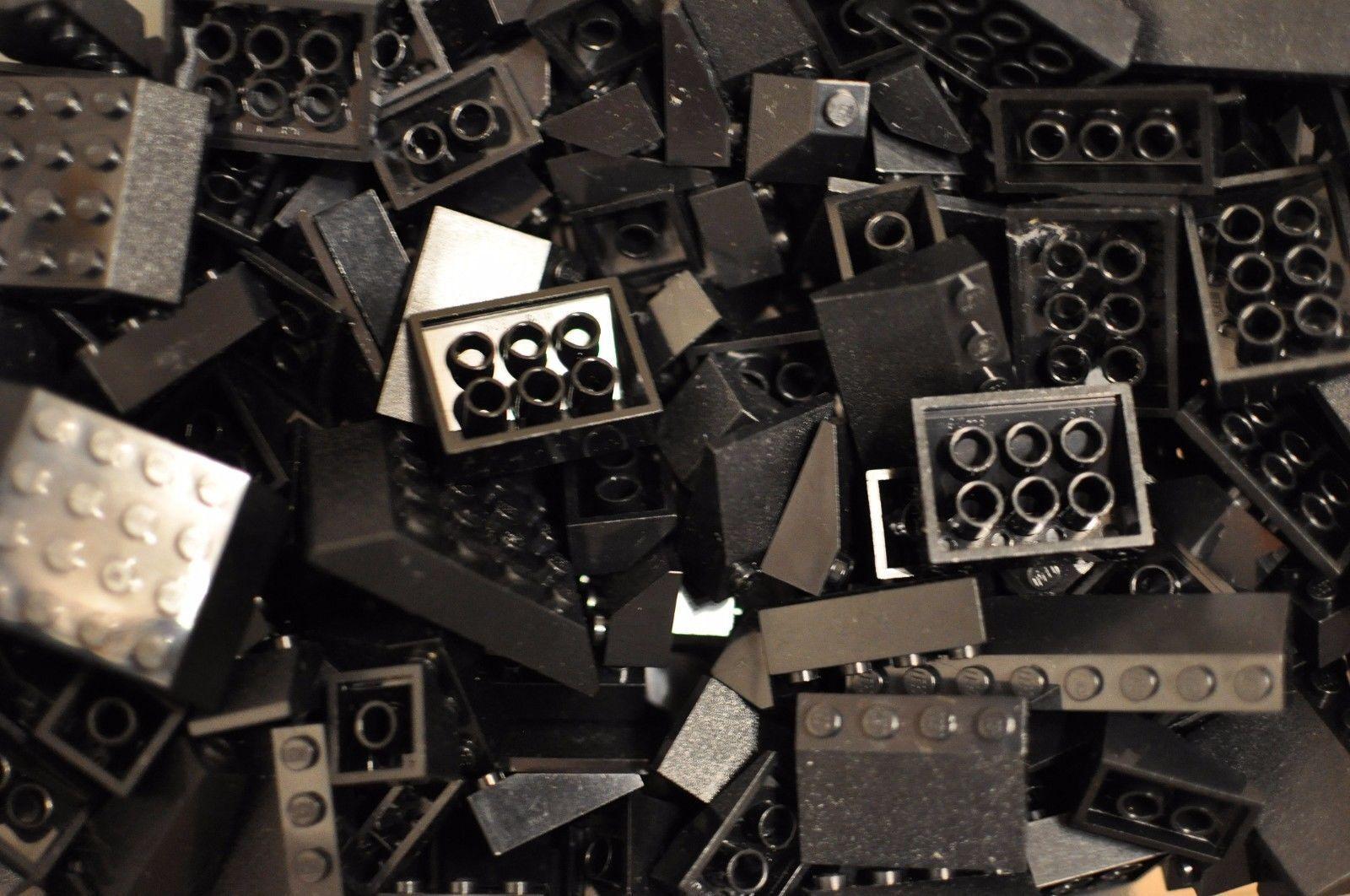 lego 100 st ck dachziegel schwarz dach verschiedene formen. Black Bedroom Furniture Sets. Home Design Ideas