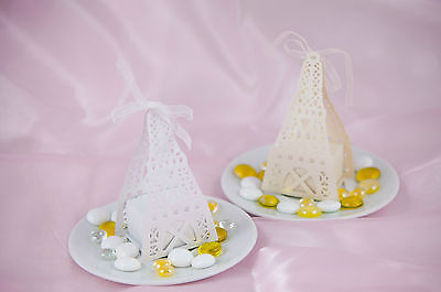 Eiffel Tower Cut Out (Lot of 12/60 Luxury laser cut-out eiffel tower wedding sweets boxes w/ ribbon)