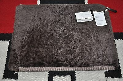 Brunello Cucinelli Wool & Leather Lined Shearling Fur Portfolio Holder Case