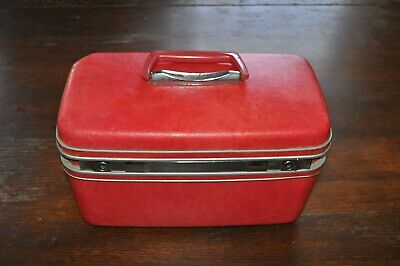SAMSONITE RED OVERNIGHT TRAIN MAKEUP SUIT CASE CARRY ON with tray