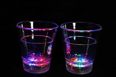 Led Shot Glasses (Set of 2 Light Up MultiColor LED Shot Glasses- Fast USA)