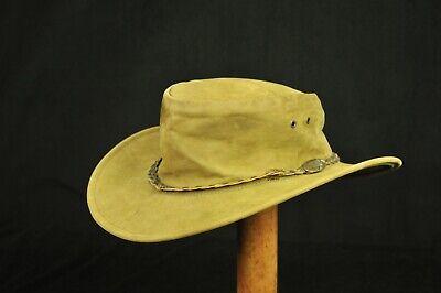 Jacaru Australia Faded Brownish-Green Leather Australian Bush Hat XL