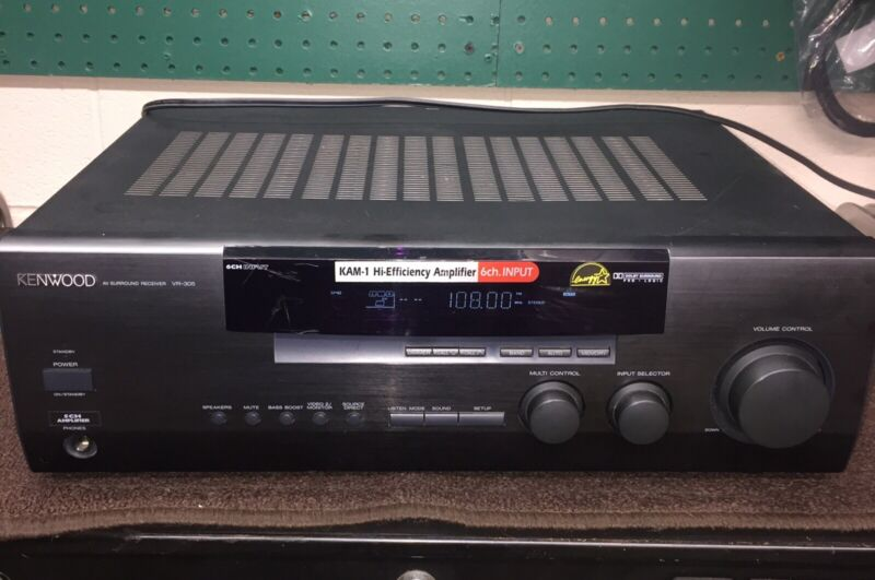 Kenwood VR-305 A/V DTS Surround Home Theatre Stereo Receiver Phono Input Used
