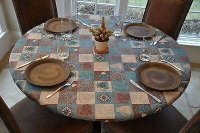 Elastic Edged Flannel Backed Vinyl Fitted Table Cover -