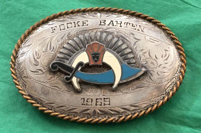 Vintage 1969 Sterling Front FOCKE BARTEN Shriner Freemason Fraternal BELT BUCKLE