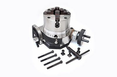 Rotary Table 4 Tilting Model With 100 Mm 4jaw Independent Chuck Backplate