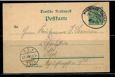 D. Reich Postkarte P 50  Bahnpost Hannover-Cassel nach Kiel -int.Nr.109