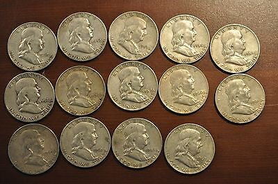 14 FRANKLIN HALVES 1951 1963  VARIOUS DATES 13 D MINT & 1 S MINT MARK