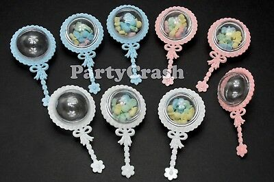 12 Fillable Rattles Baby Shower Favors White Pink Blue Party Decorations  (Baby Rattle Favors Baby Shower)