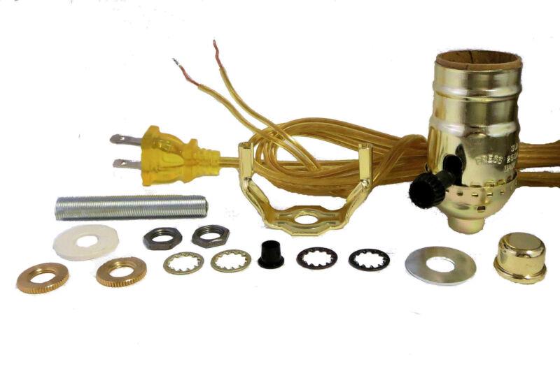 LAMP PART KITS - GOLD CORD, 3-WAY SOCKET    TD-396 GOLD