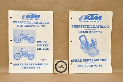 1994 KTM 125 SX EGS EXC Motor Engine Chassis Data Part List Diagram Manual Lot