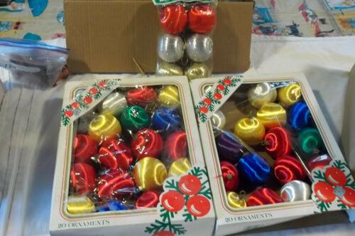 43 Vintage MULTI-COLOR Satin Silk Wrapped Christmas Ornaments Balls Styrofoam