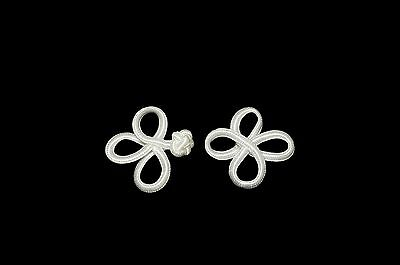 White or Off-white 3-loops Chinese Frog Closure Button Knot 2.5