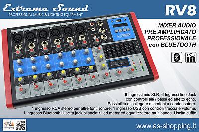 Usato, MIXER 8 CANALI PROFESSIONALE CON USB BLUETOOTH EFFETTI ECO DJ KARAOKE PIANOBAR   usato  Italia