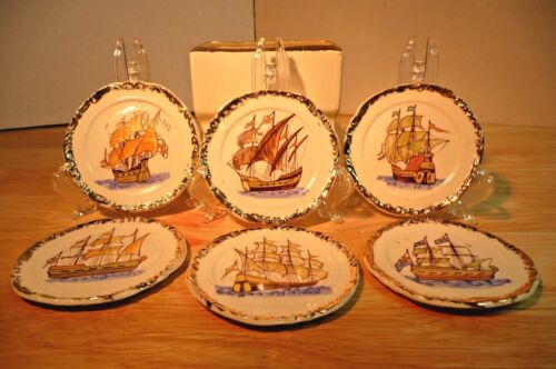 Antique Hand Painted SHIP Coasters GOLD Trim White Ceramic 6 With Holder