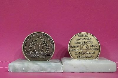 Recovery coins AA 3 Month Bronze Medallion tokens sobriety affirmation birthday for sale  Shipping to Canada
