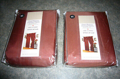 2 Linen n Things 110 x 95 long white-lined TERRA COTTA  patio drapes NEW (Terra Cotta Lined Curtains)